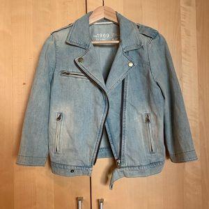 Gap moto style 3/4 sleeve denim jacket